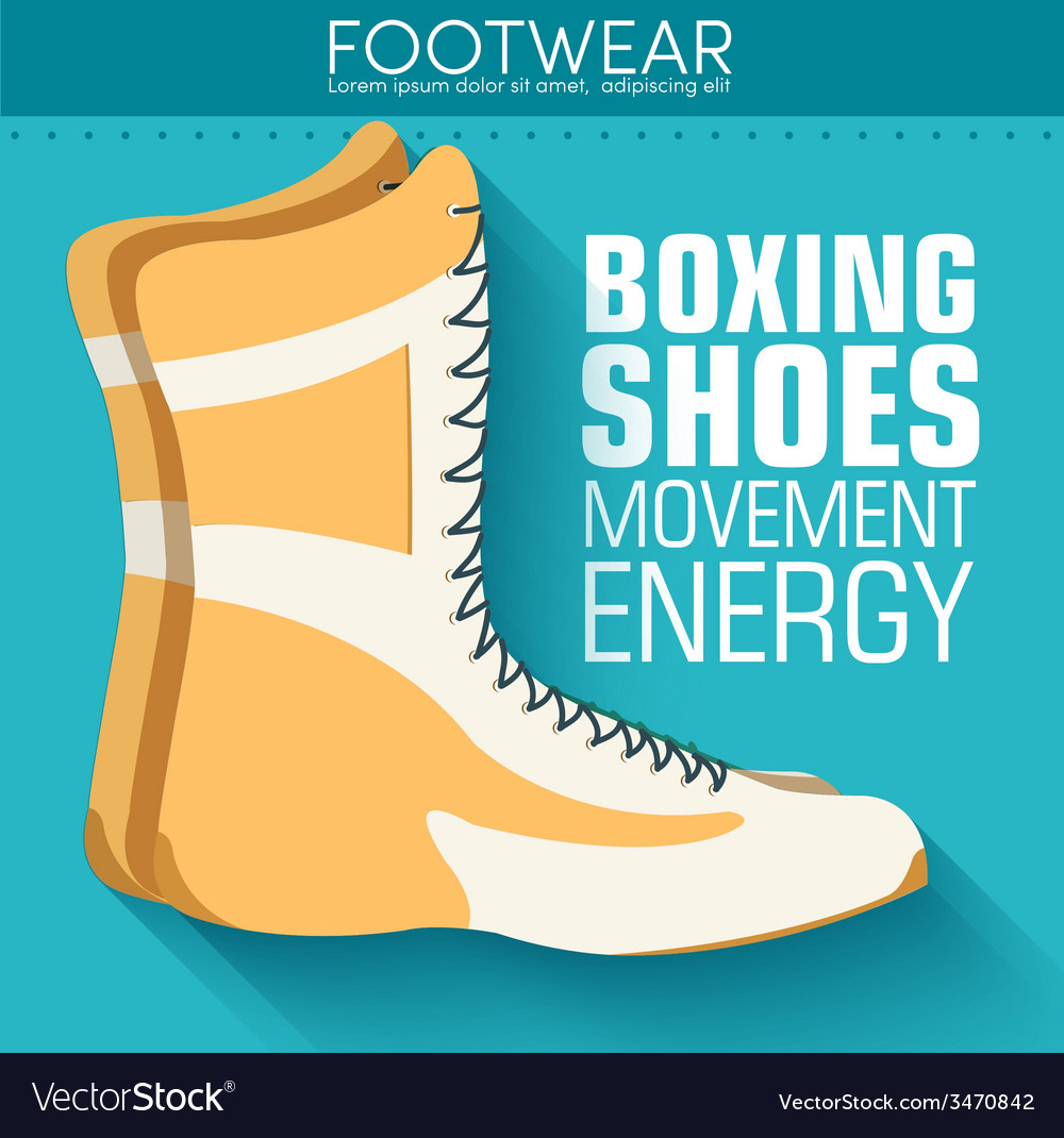 Flat sport boxing shoes background concept vector | Price: 1 Credit (USD $1)