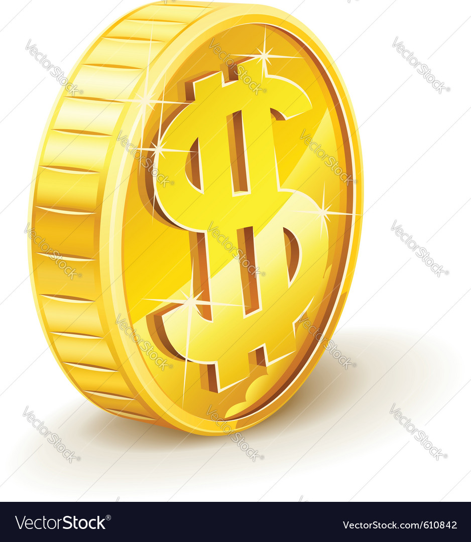 Gold coin with dollar sign vector | Price: 1 Credit (USD $1)