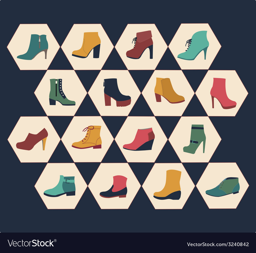 Icons set of fashion footwear autumn collection vector | Price: 1 Credit (USD $1)