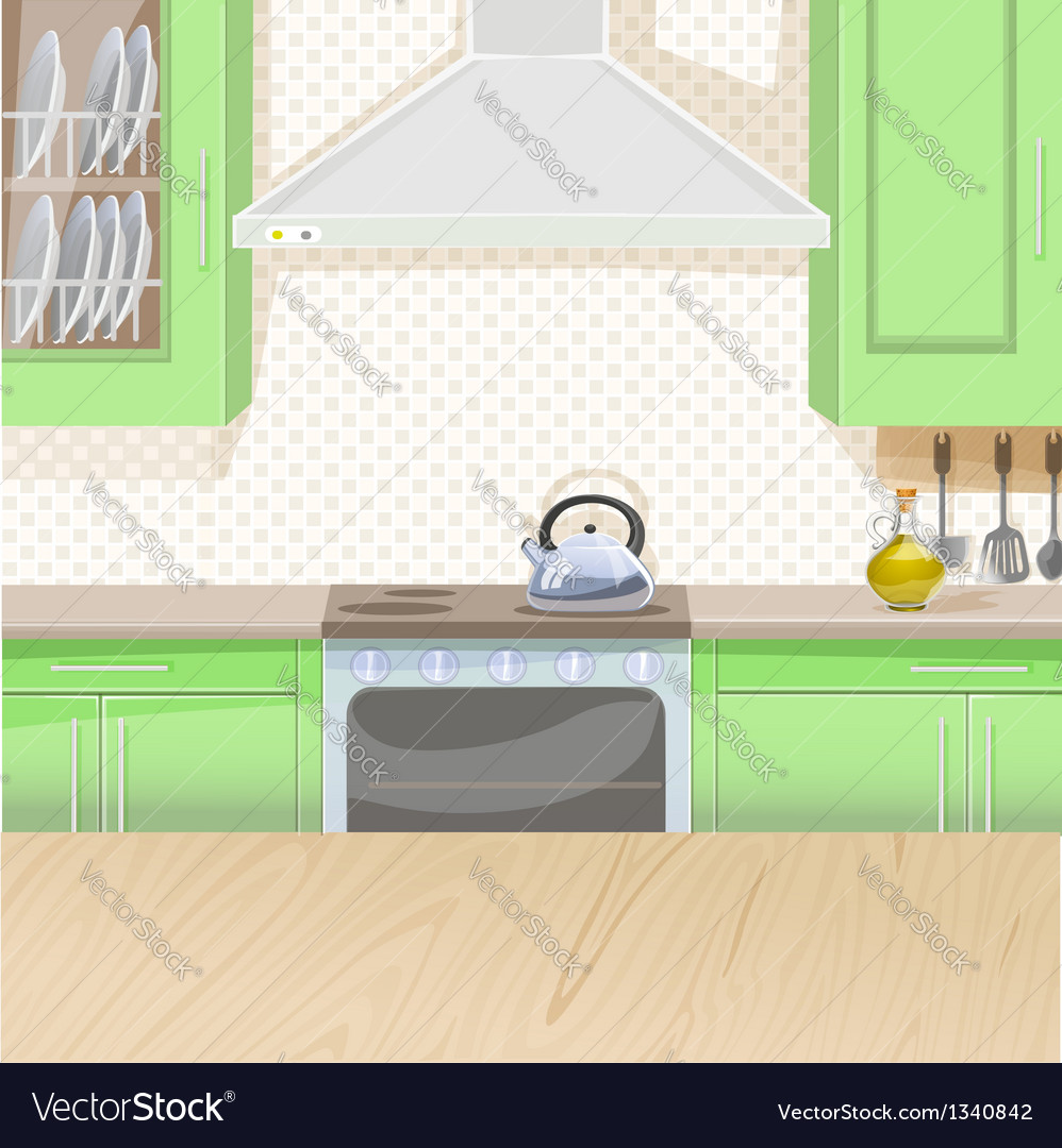Interior of kitchen with stove and cupboards vector | Price: 1 Credit (USD $1)