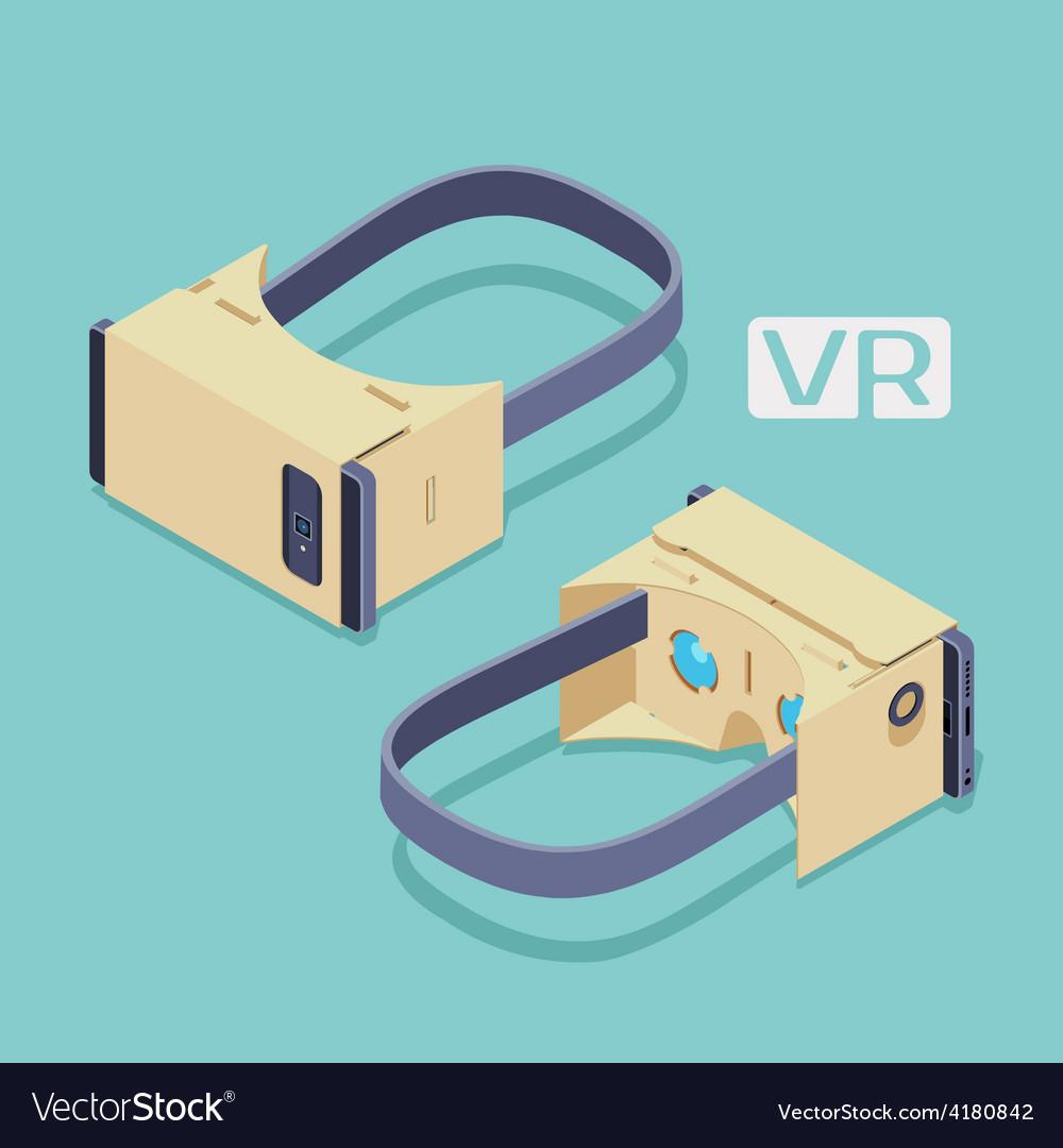 Isometric cardboard virtual reality headset vector | Price: 1 Credit (USD $1)