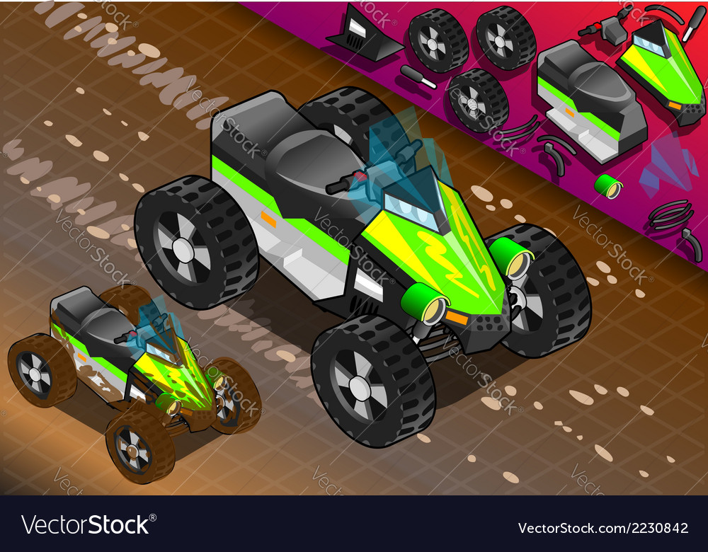 Isometric quad bike in front view vector | Price: 1 Credit (USD $1)