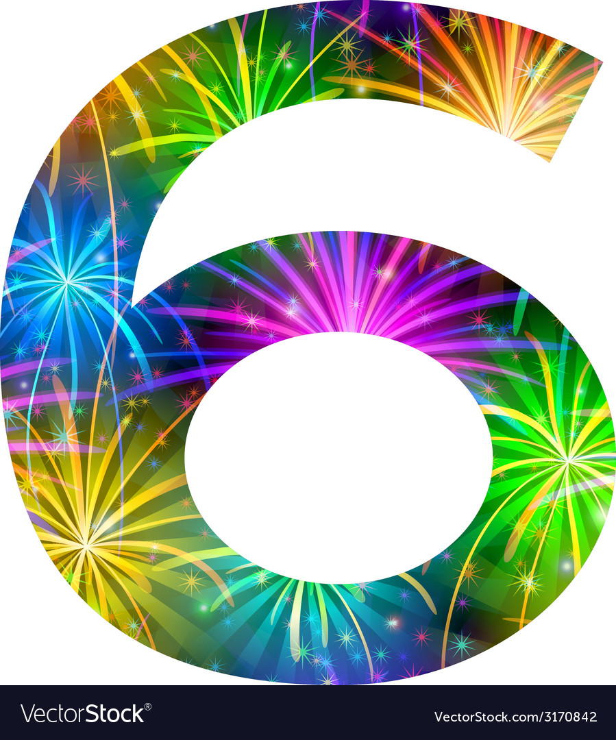 Number of colorful firework six vector | Price: 1 Credit (USD $1)