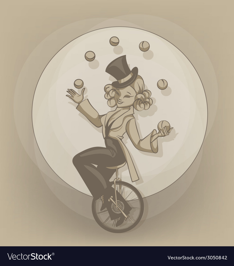 Pinup equilibrist juggling balls vector | Price: 1 Credit (USD $1)