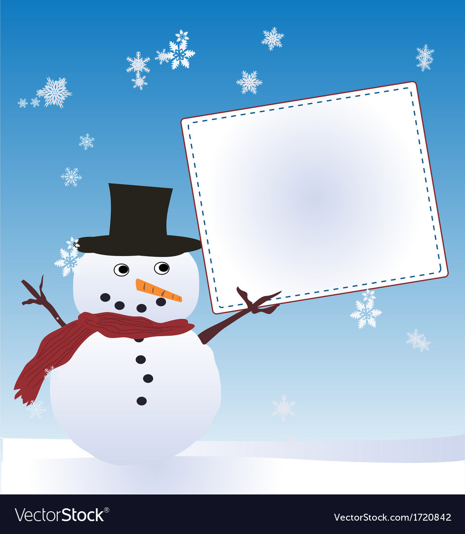 Snow man with message board vector | Price: 1 Credit (USD $1)