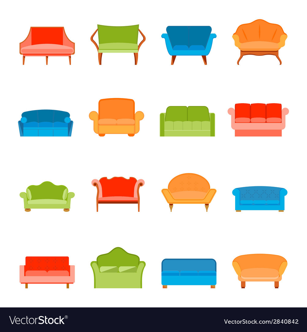 Sofa icon flat vector | Price: 1 Credit (USD $1)