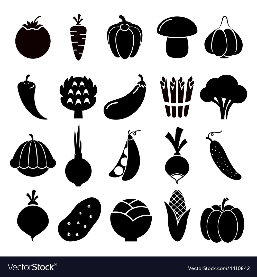 Vegetables silhouettes icons vector | Price: 1 Credit (USD $1)