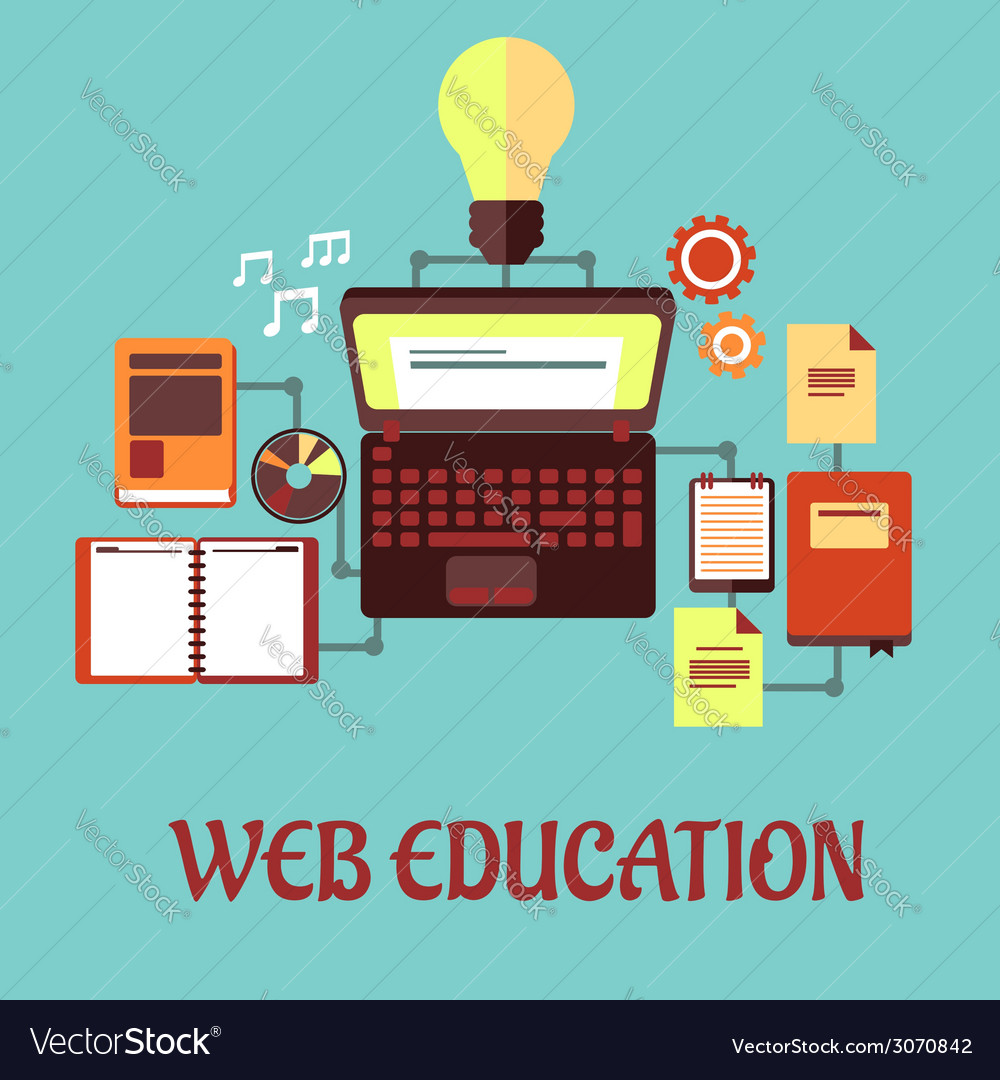Web education flat concept vector | Price: 1 Credit (USD $1)