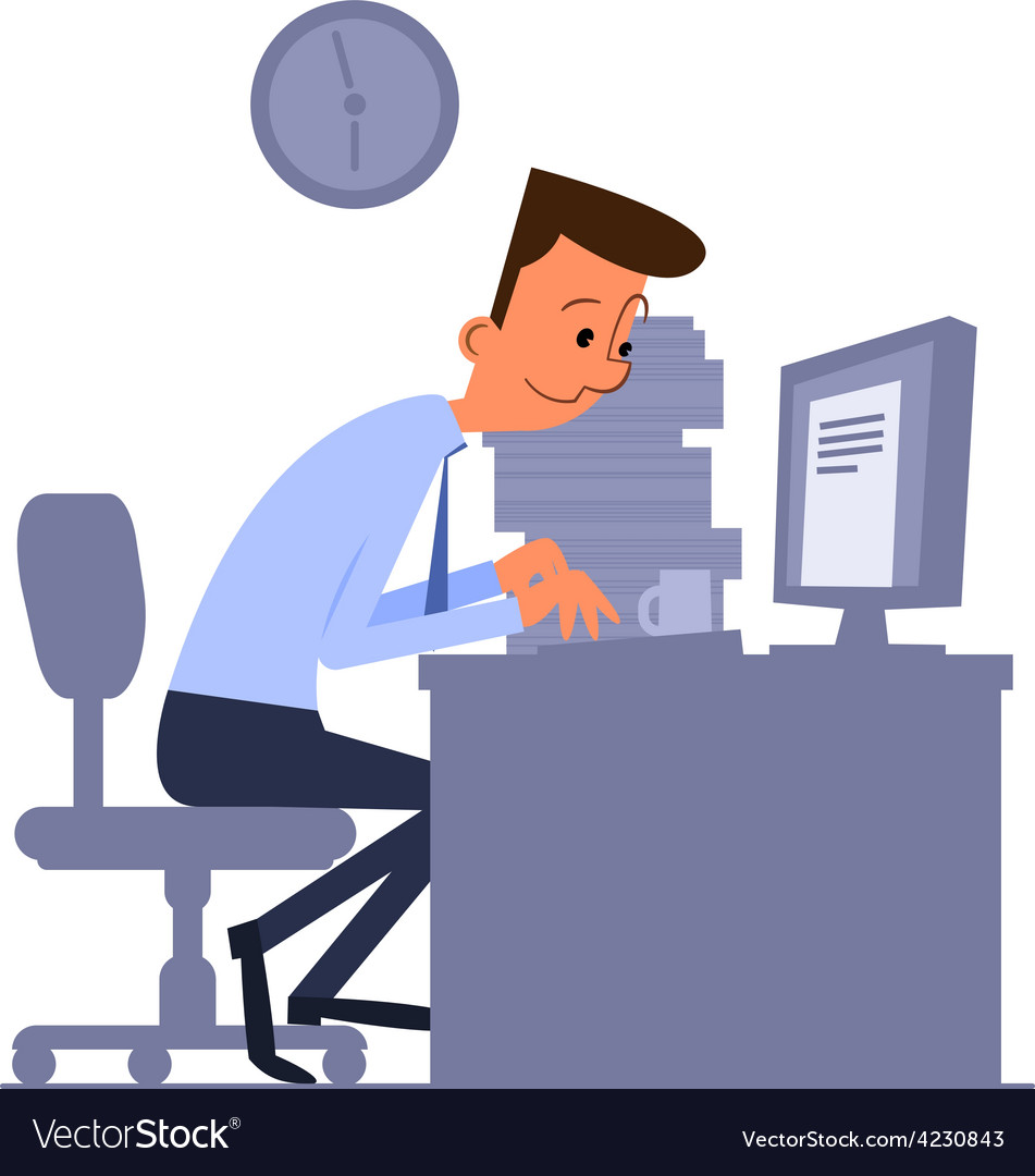 Cartoon office worker typing on computer vector | Price: 3 Credit (USD $3)