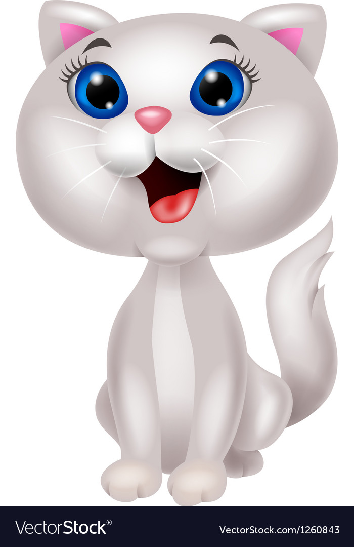 Cute white cat cartoon sitting vector   Price: 3 Credit (USD $3)