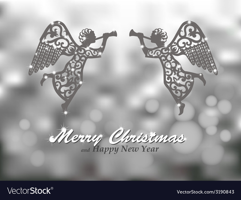 Merry christmas silver background with angels vector | Price: 1 Credit (USD $1)