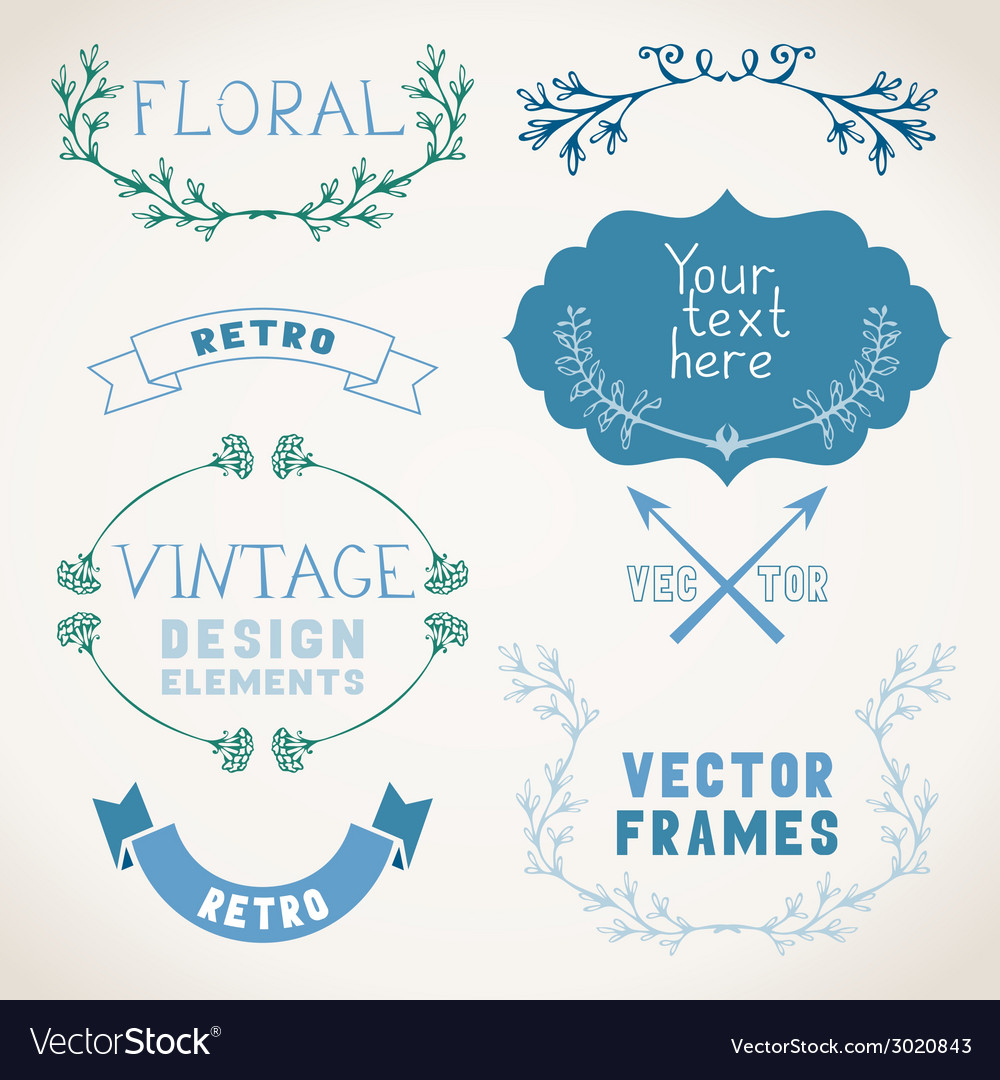 Set of vintage page decorations with floral vector | Price: 1 Credit (USD $1)