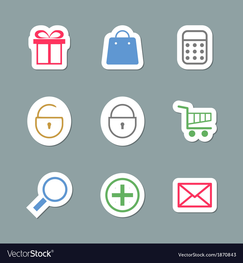 Shopping icons as labes vector | Price: 1 Credit (USD $1)