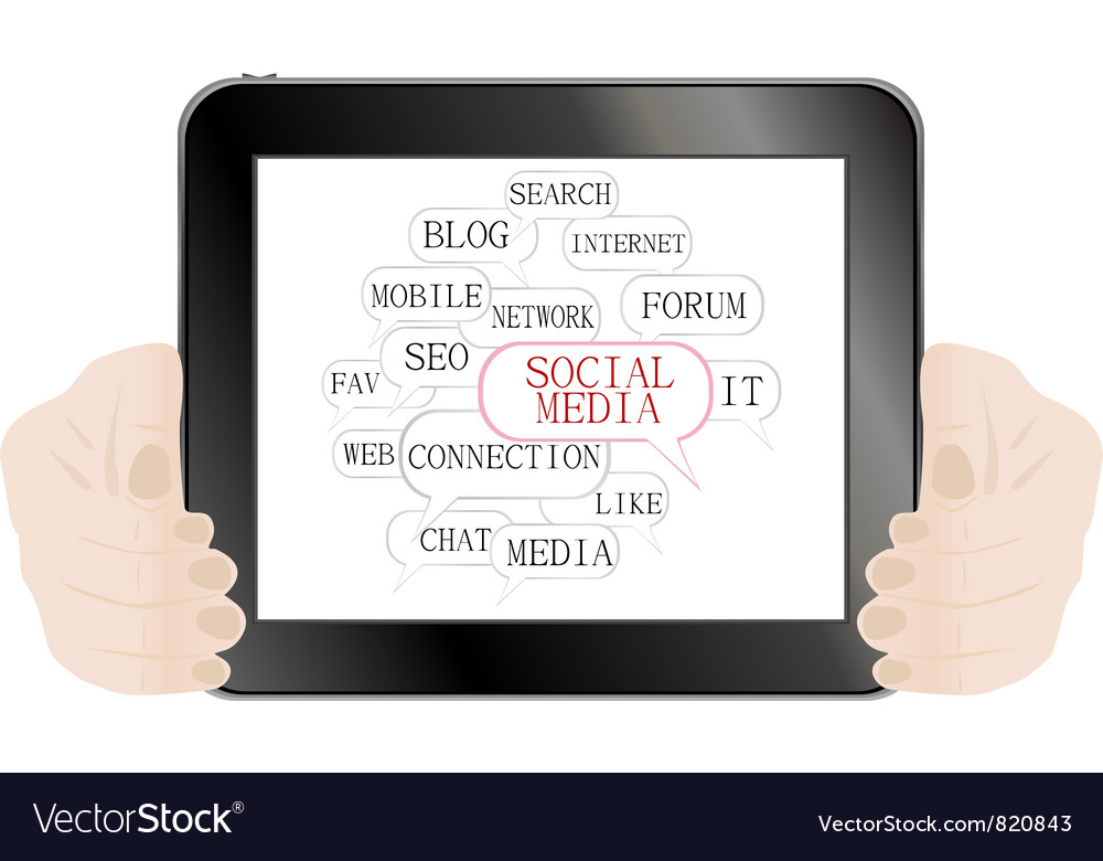 Social media and network concept on tablet pc vector | Price: 1 Credit (USD $1)