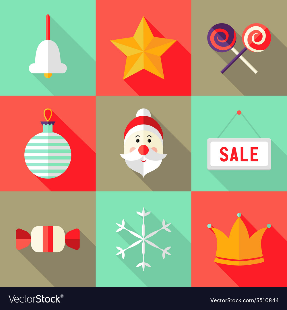 9 christmas flat icons set 1 vector | Price: 1 Credit (USD $1)