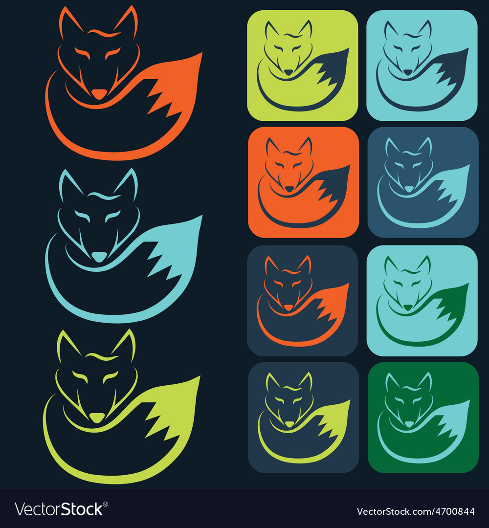 Flat designs and icons of fox vector | Price: 1 Credit (USD $1)
