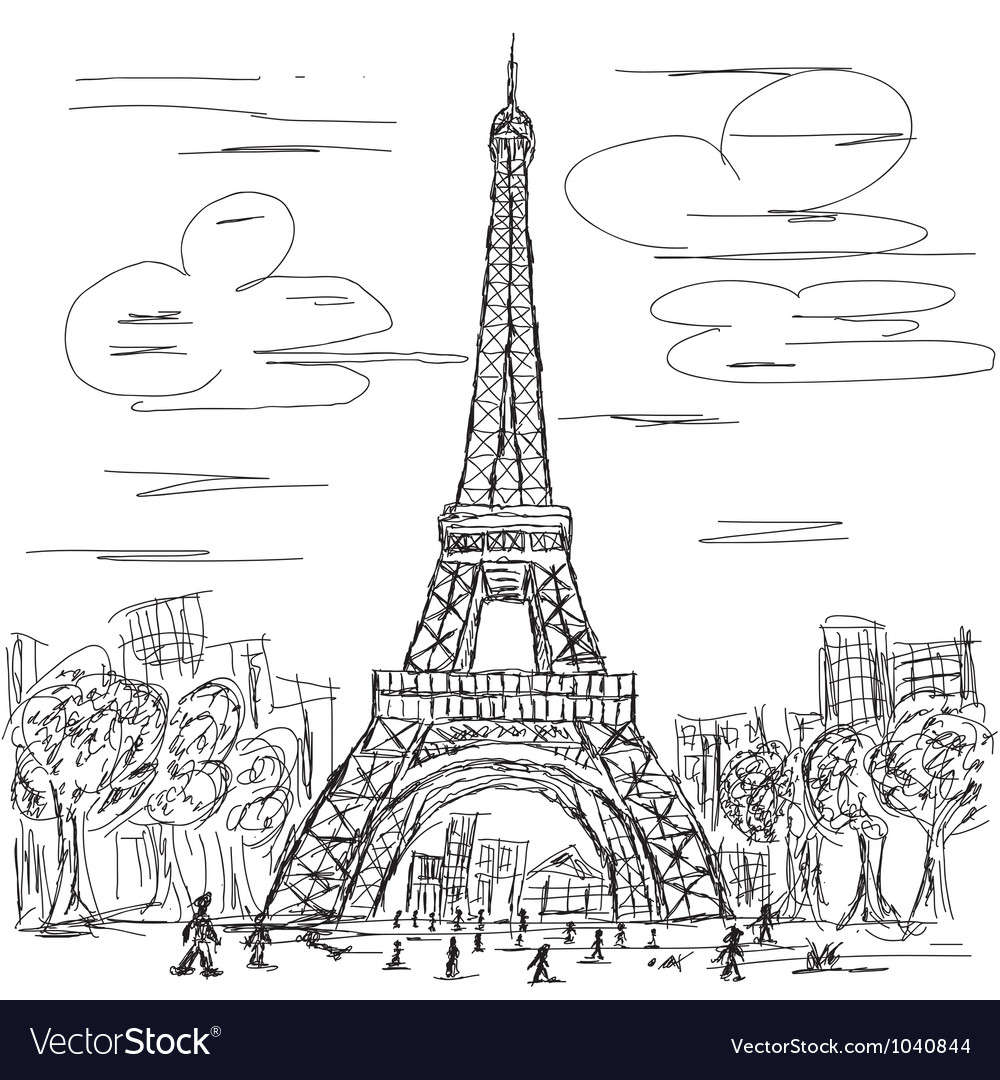 Hand drawn of eifel tower paris france tourist vector | Price: 1 Credit (USD $1)