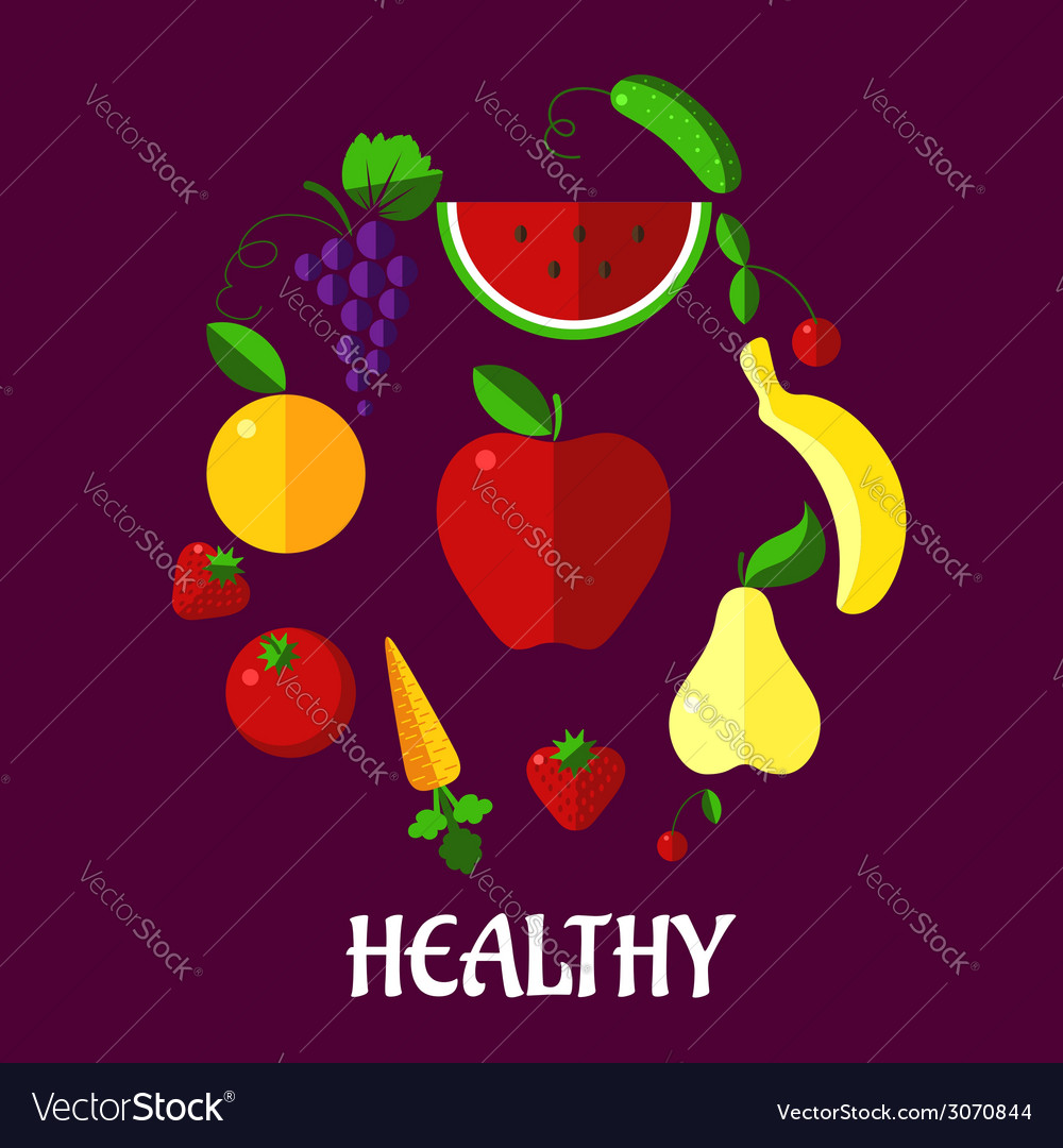 Healthy eating poster with fruits and vegetabkes vector | Price: 1 Credit (USD $1)