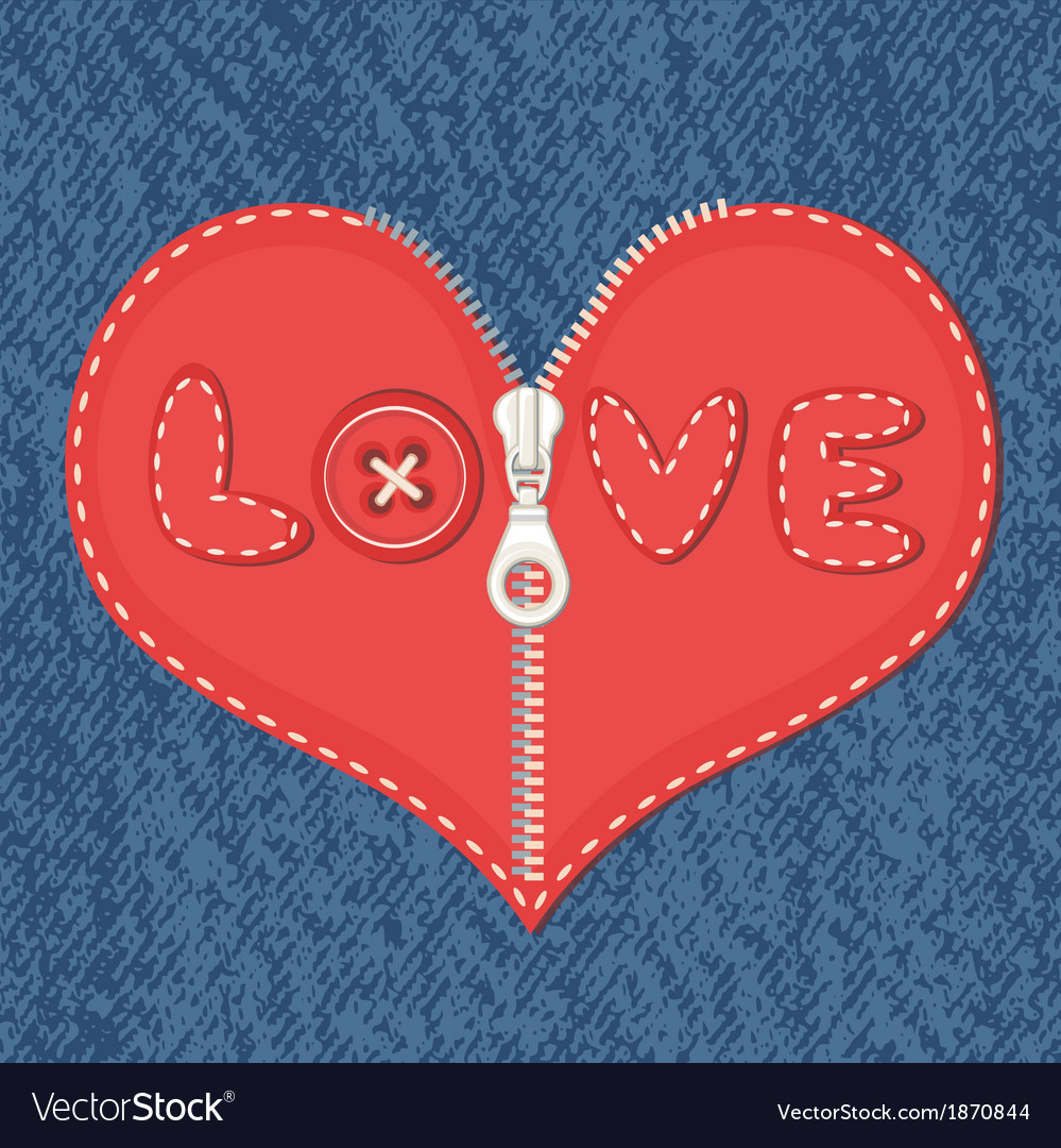 Jeans background and heart with zipper vector | Price: 1 Credit (USD $1)