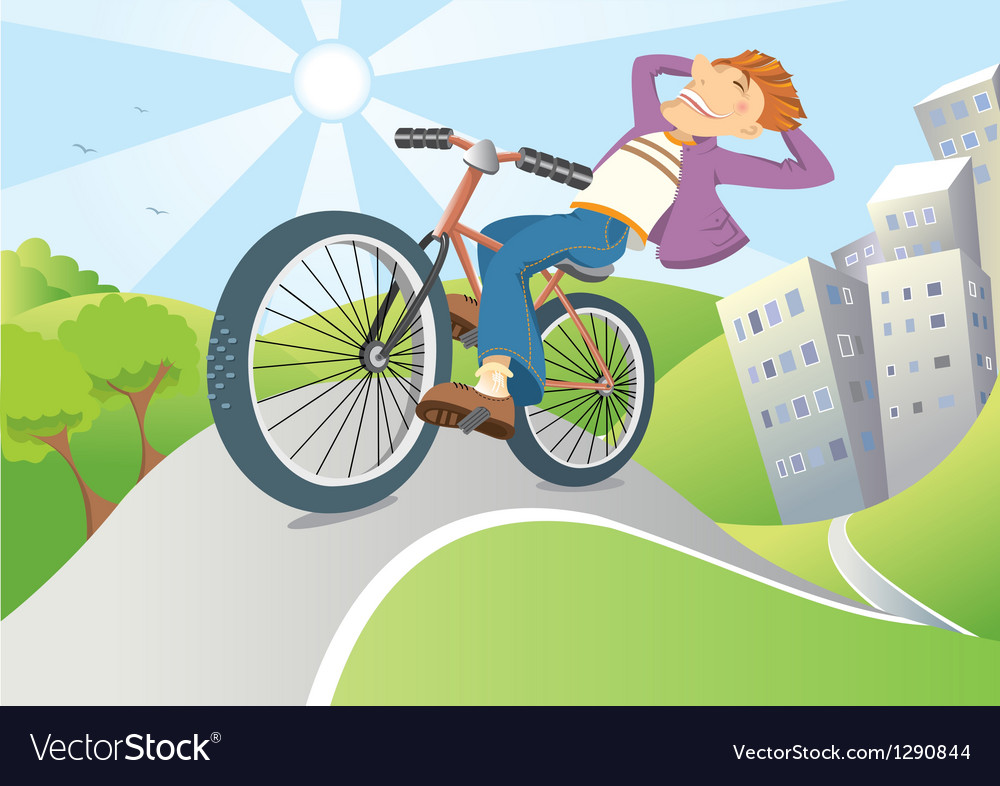 Man driving by bike from big city vector | Price: 3 Credit (USD $3)