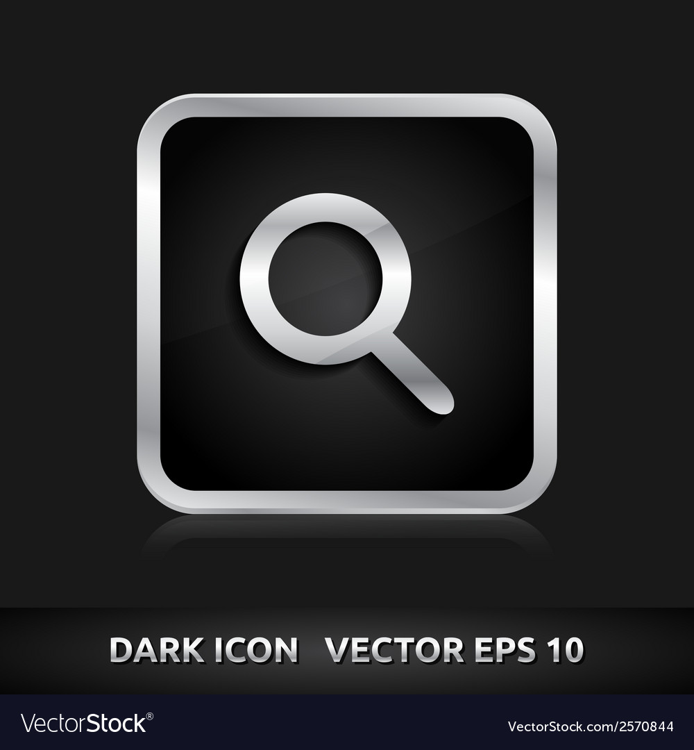 Search icon silver metal vector | Price: 1 Credit (USD $1)
