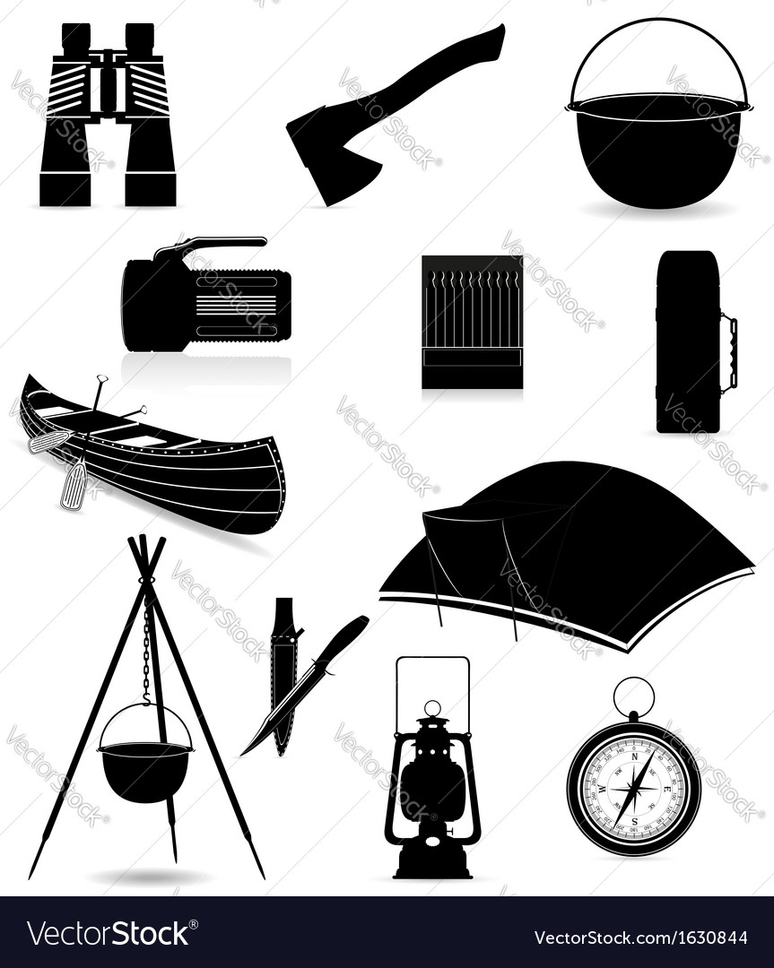 Set icons items for outdoor recreation black and vector | Price: 1 Credit (USD $1)
