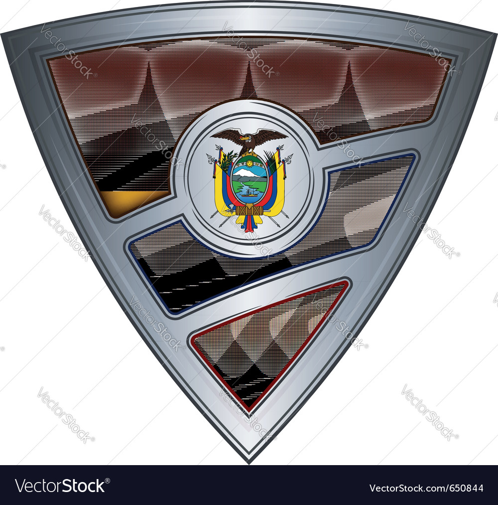 Steel shield with flag ecuador vector | Price: 1 Credit (USD $1)