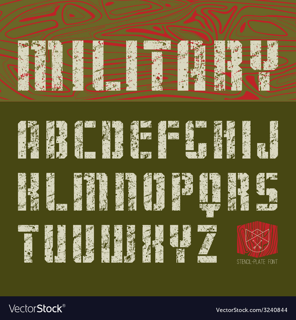 Stencil plate sans serif font military vector | Price: 1 Credit (USD $1)