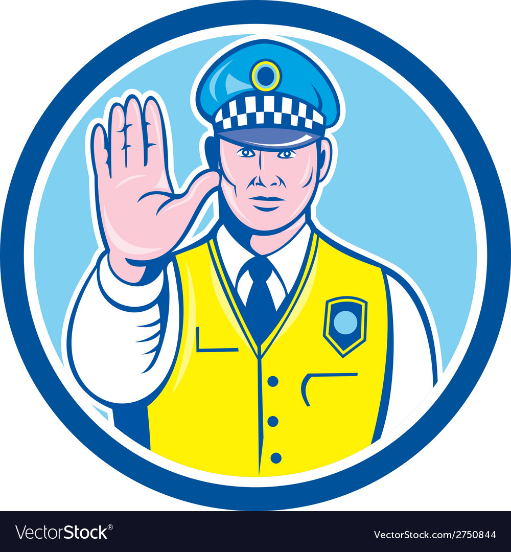 Traffic policeman hand stop sign circle cartoon vector | Price: 1 Credit (USD $1)