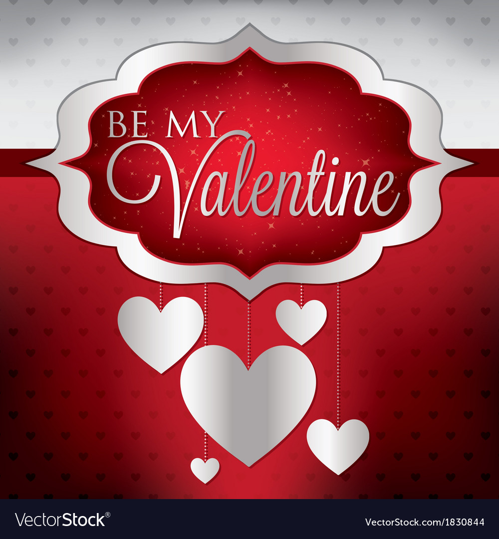 Valentines day hanging heart card in format vector | Price: 1 Credit (USD $1)