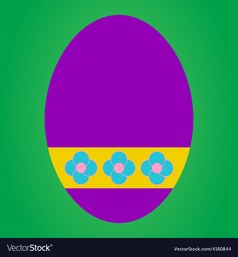 Violet easter egg with flower pattern on green bac vector | Price: 1 Credit (USD $1)