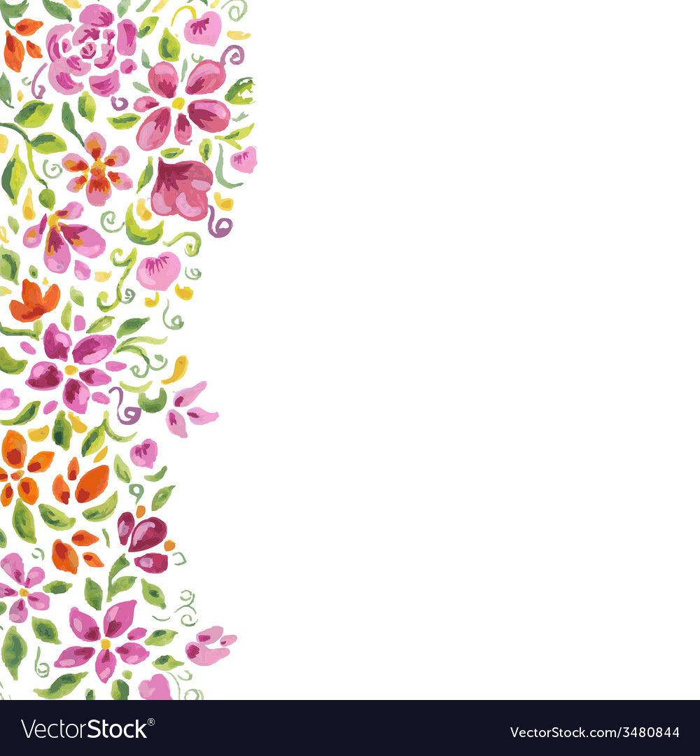 Watercolor flowers card vector | Price: 1 Credit (USD $1)