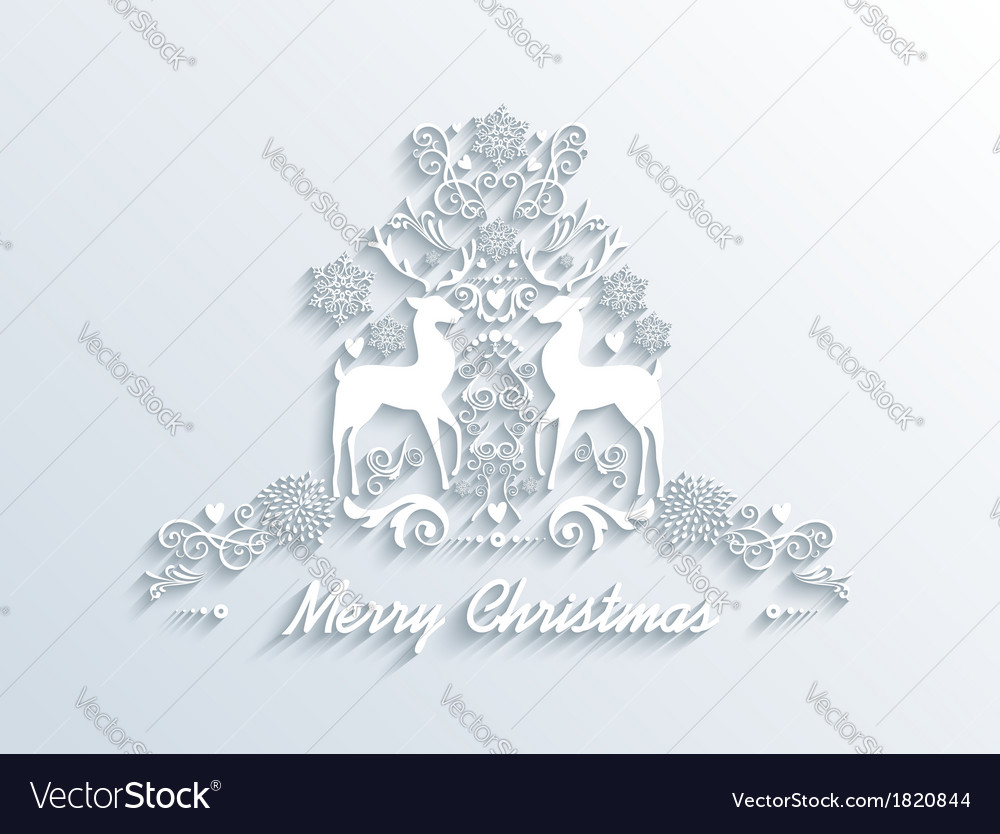 White merry christmas season greeting postcard vector | Price: 1 Credit (USD $1)