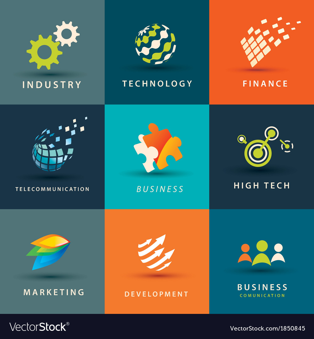 Abstract business and technology icons set vector | Price: 1 Credit (USD $1)