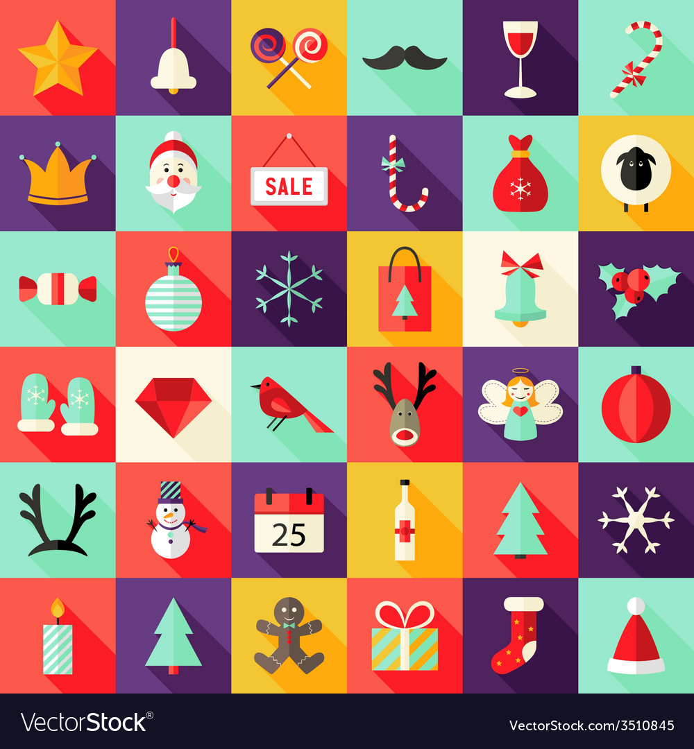 Big christmas squared flat icons set 1 vector | Price: 1 Credit (USD $1)