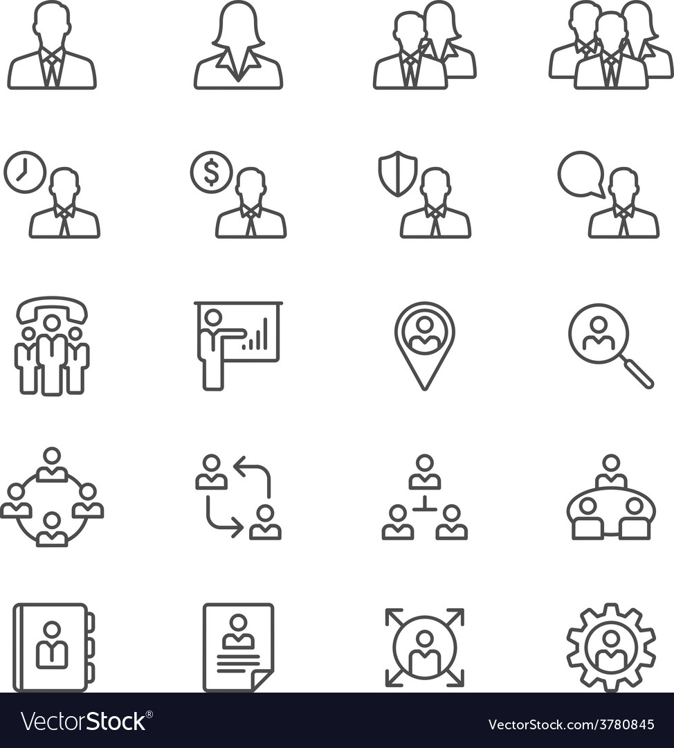 Business thin icons vector | Price: 1 Credit (USD $1)
