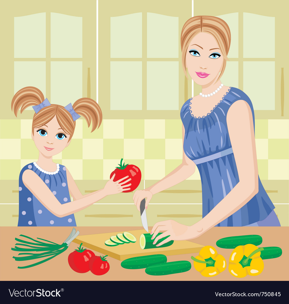 Daughter helps mum vector | Price: 5 Credit (USD $5)