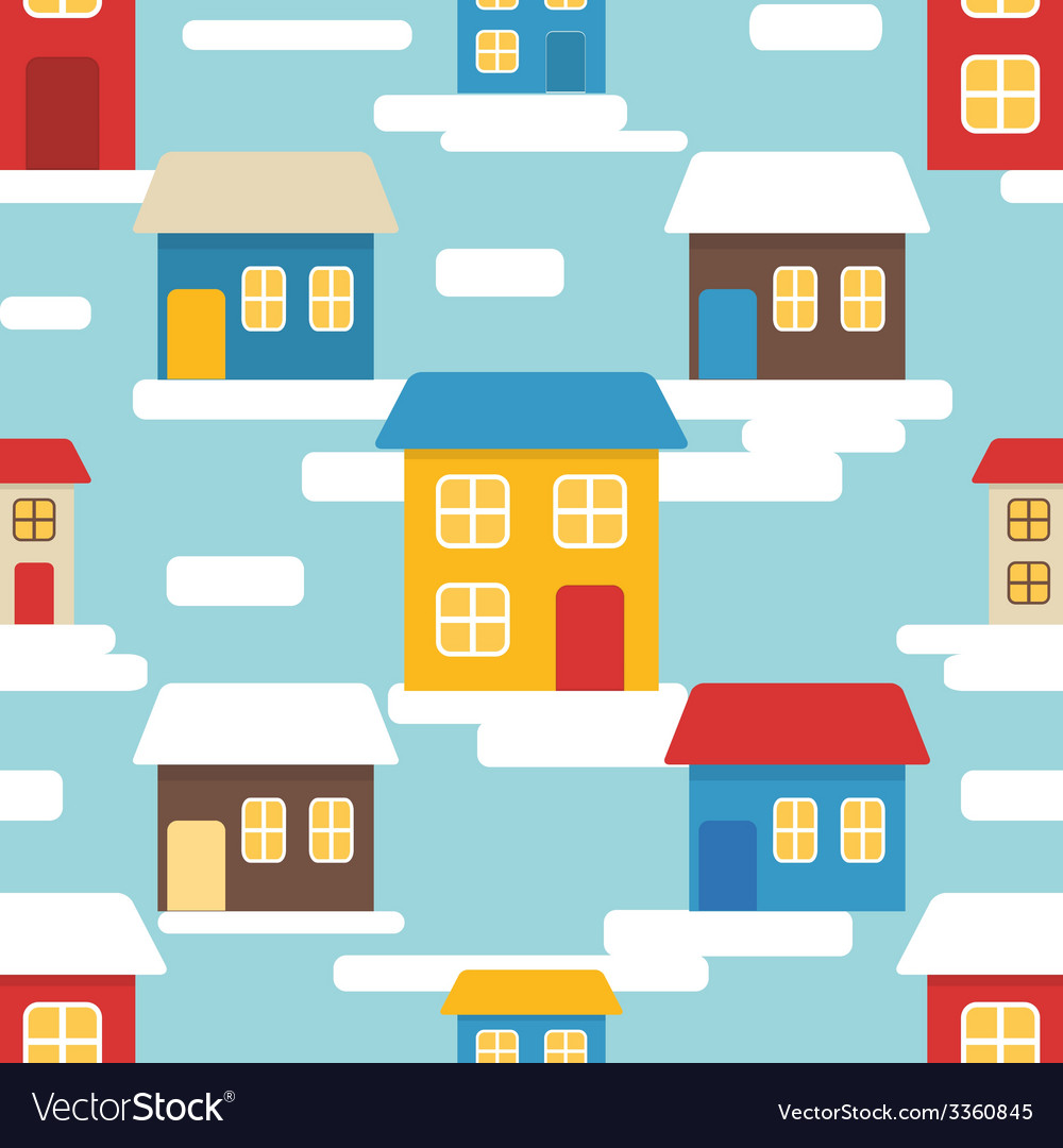 Flat seamless pattern with houses vector | Price: 1 Credit (USD $1)