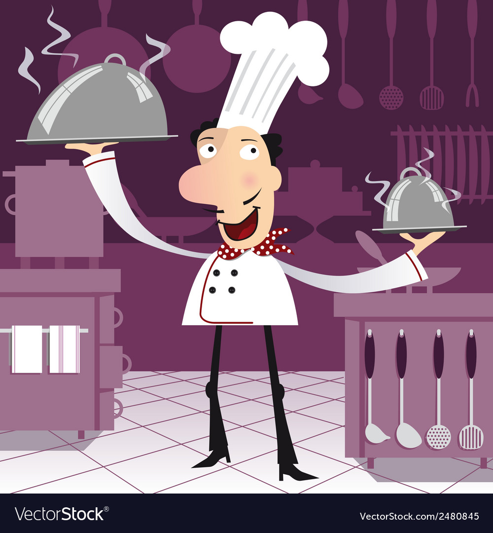Happy french chef in the kitchen vector | Price: 1 Credit (USD $1)