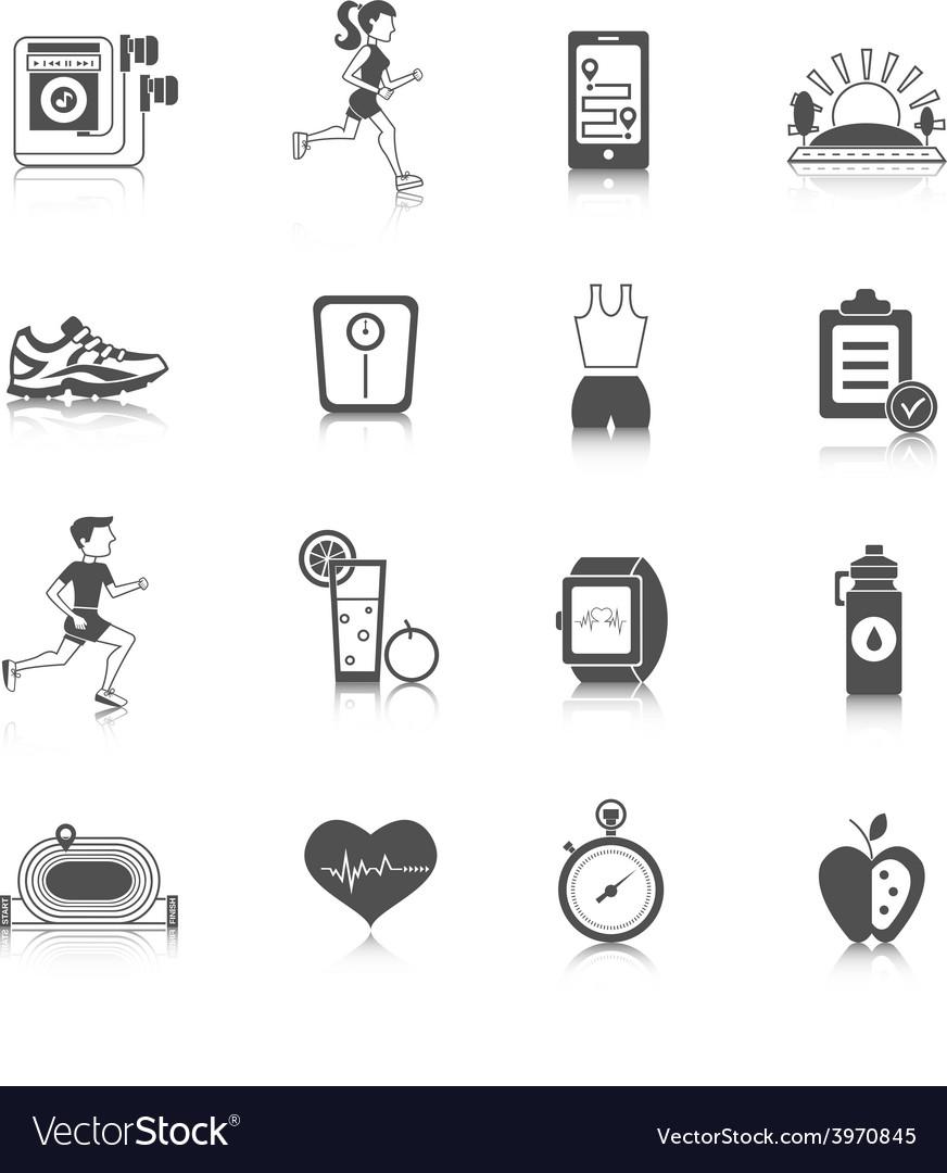 Jogging icons black vector | Price: 1 Credit (USD $1)