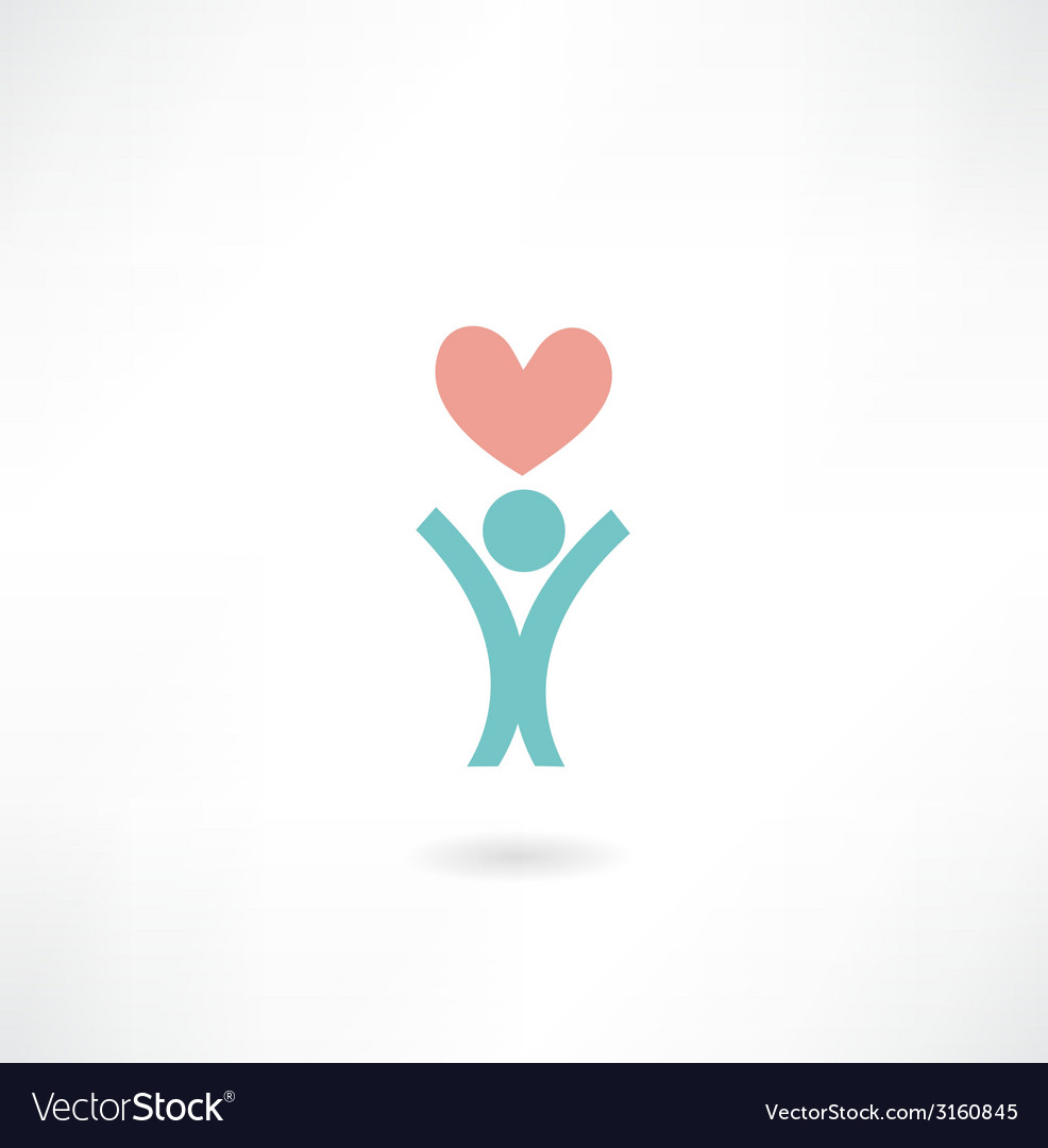 Man with a heart icon vector | Price: 1 Credit (USD $1)