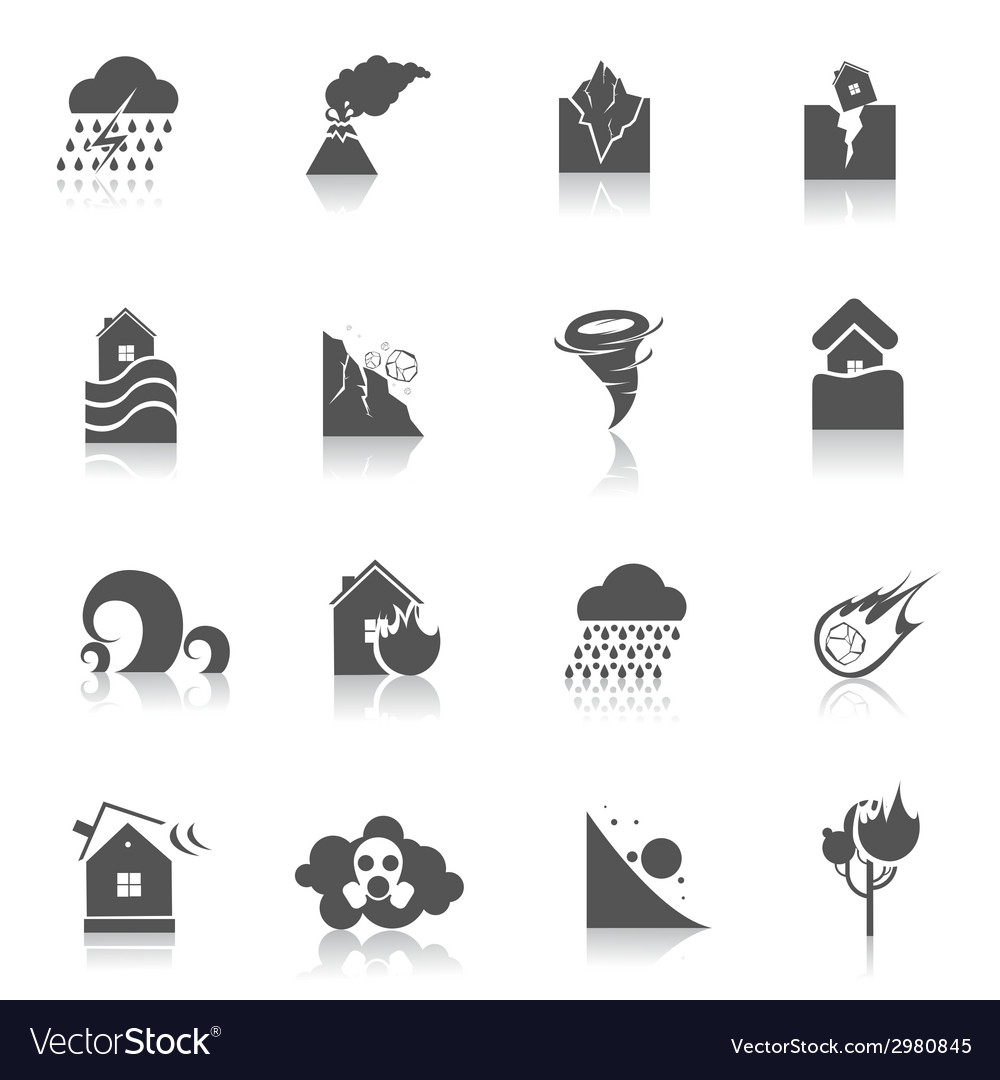 Natural disaster icons black vector | Price: 1 Credit (USD $1)