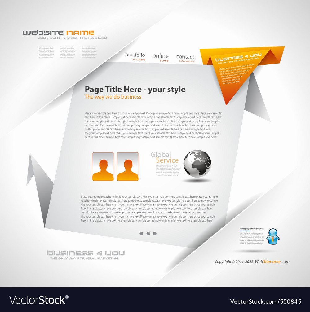 Origami website vector | Price: 1 Credit (USD $1)