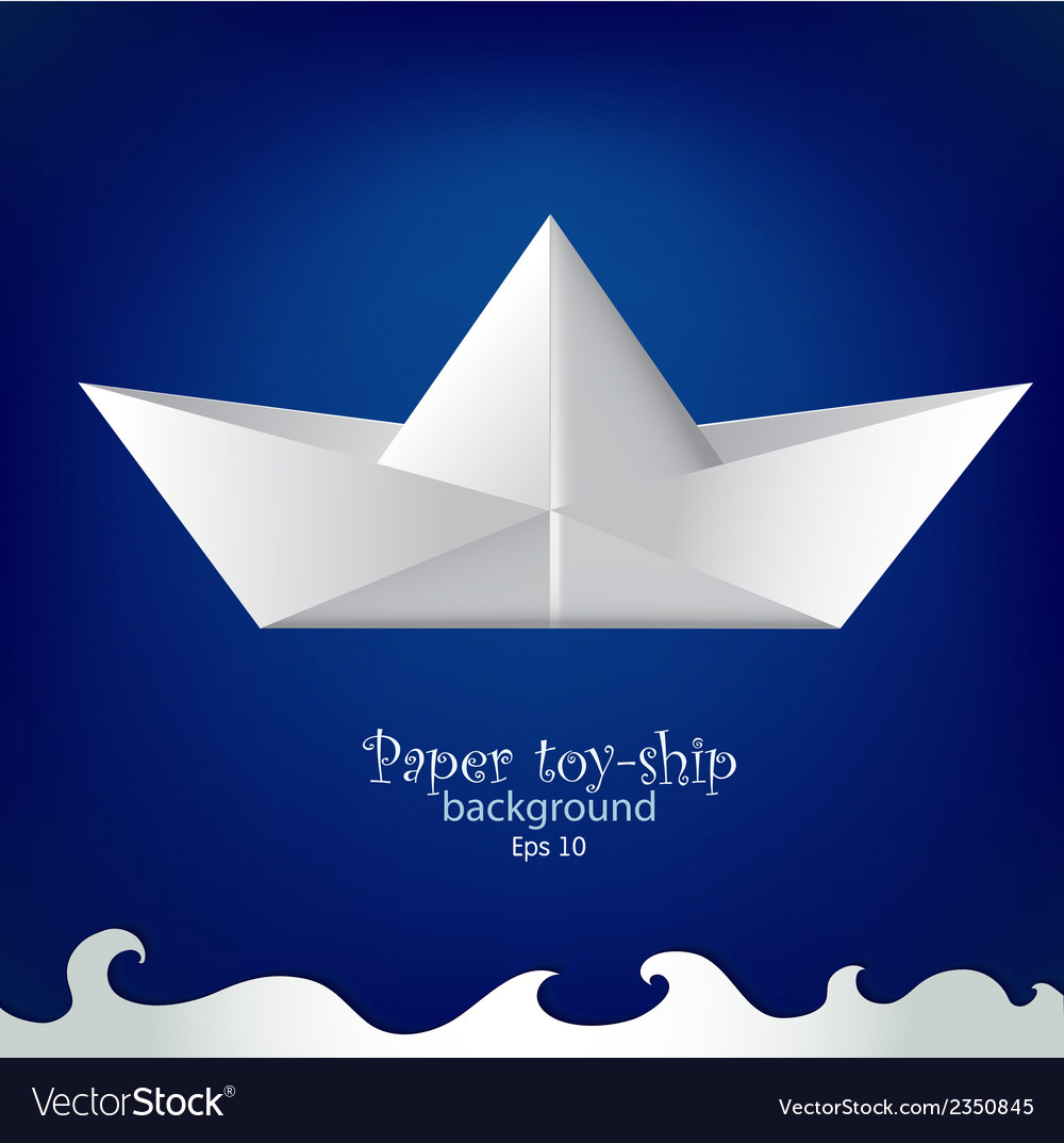 Paper toy ship background vector | Price: 1 Credit (USD $1)