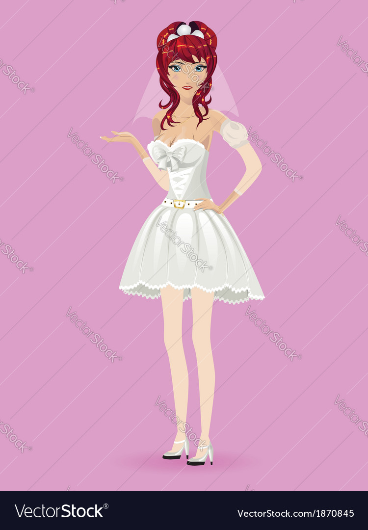 Romantic cartoon bride2 vector | Price: 1 Credit (USD $1)