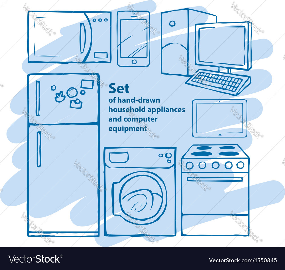 Set of hand-drawn household appliances and vector | Price: 1 Credit (USD $1)