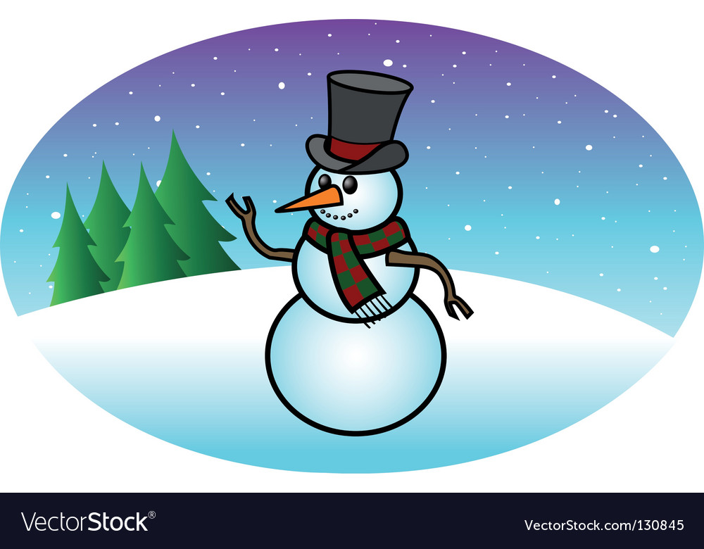 Snowfall snowman vector | Price: 1 Credit (USD $1)