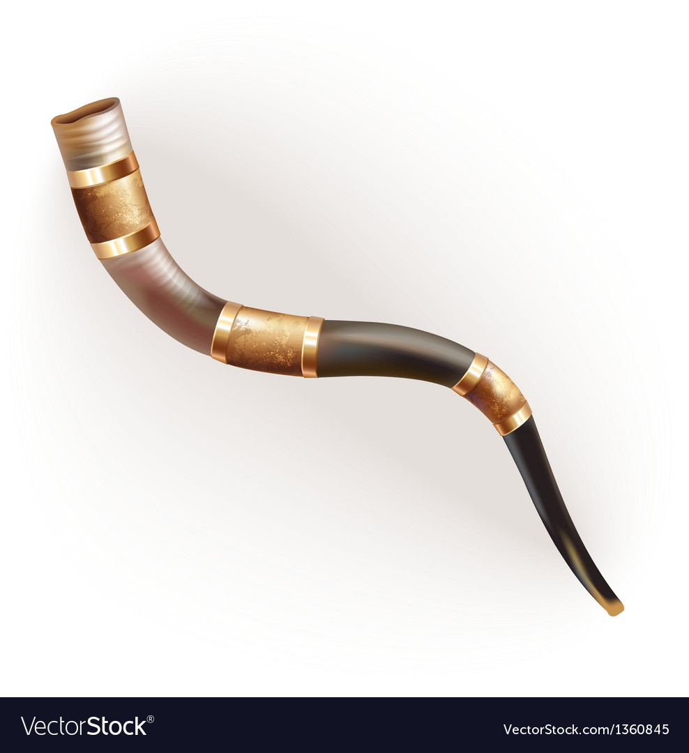 Traditional ram horn shofar isolated on white vector | Price: 3 Credit (USD $3)