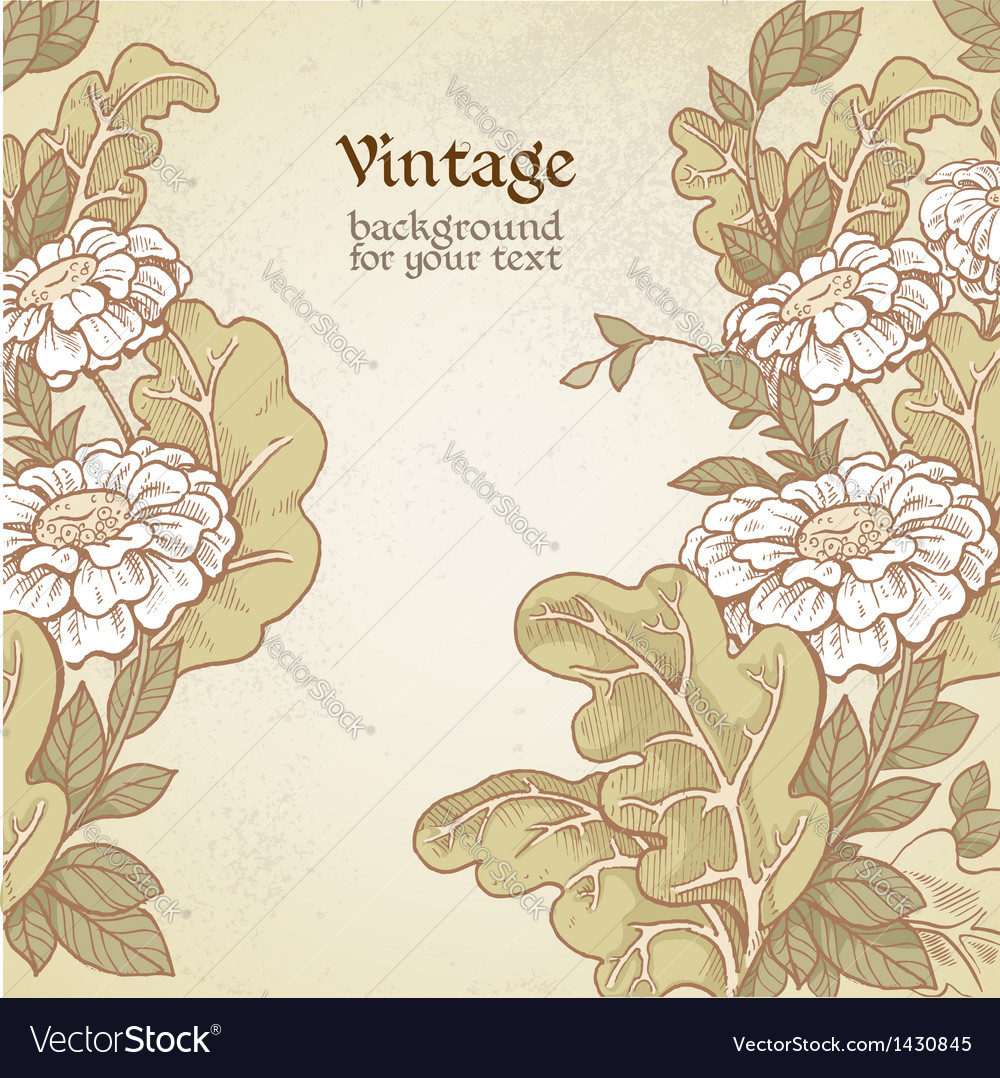 Vintage color background with wild meadow flowers vector | Price: 1 Credit (USD $1)