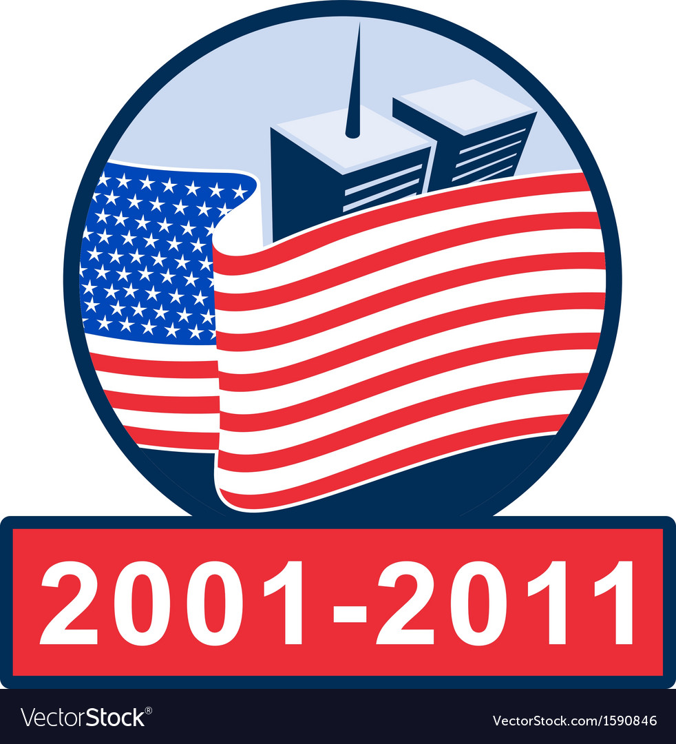 American flag with twin tower building 2001-2011 vector | Price: 1 Credit (USD $1)